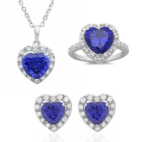 Sterling Silver Heart Cut Cubic Zirconia Necklace, Earring and Ring Set