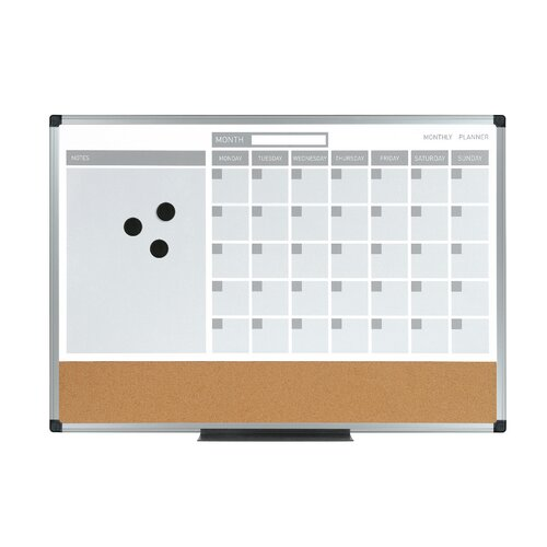 "Mastervision 3-In-1 Planner 1'6"" x 2' Bulletin Board"