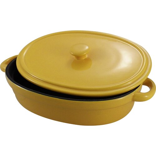 KitchenWorthy Non-Stick Ceramic Oval Baking Dish with Lid