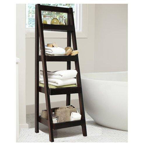 Jenlea 4 tier storage ladder bookcase reviews wayfair for Bathroom ladder shelf