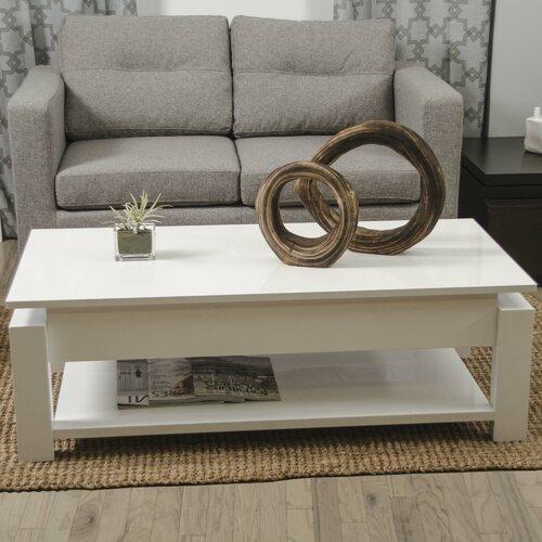 White Lift Top Coffee Tables: Matrix Kayla White Lacquer Lift-Top Rectangular Coffee