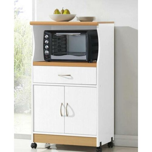 Real Simple Rolling Kitchen Island In White 300 Bed Bath: Hodedah Microwave Cart & Reviews