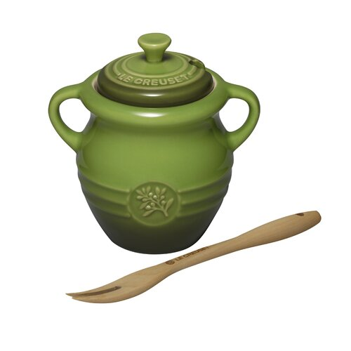 Le Creuset Stoneware 12 oz. Olive Jar with Wood Fork