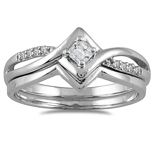 10K White Gold Princess Cut Diamond Bridal Ring Set