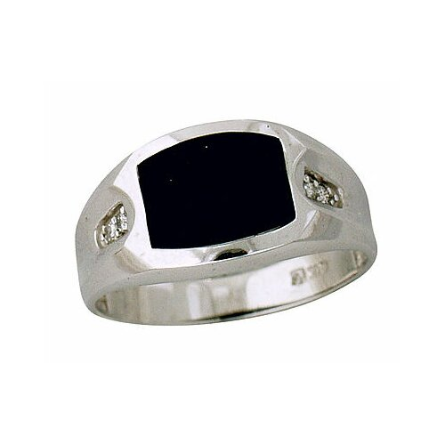 Men's 10K White Gold Onyx Ring