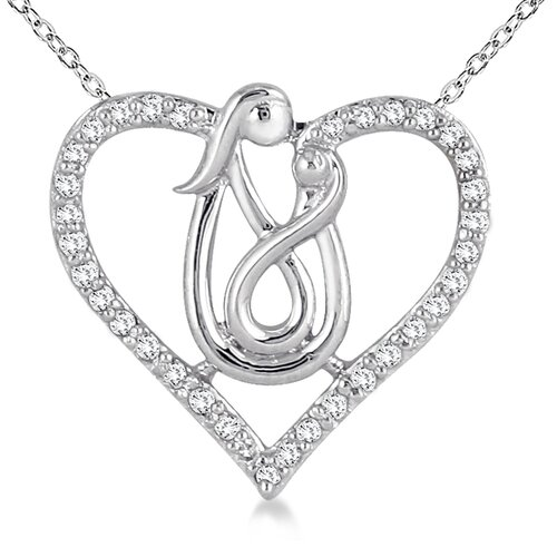 10K White Gold Round Cut Diamond Mother and Baby Heart Pendant
