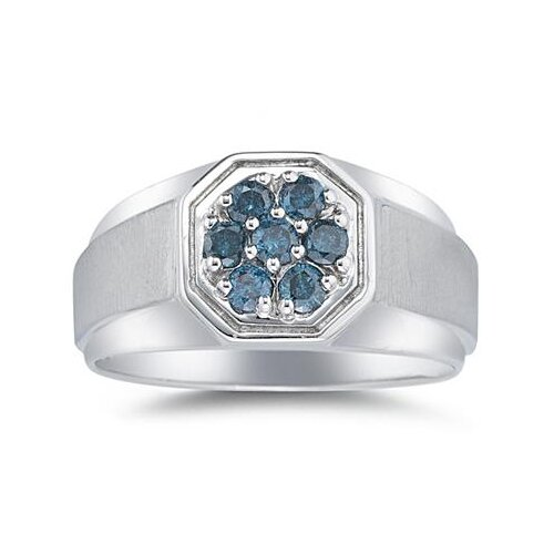 Men's 14K White Gold Round Cut Diamond Cluster Ring