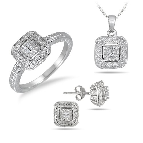 Szul Jewelry Sterling Silver Round Cut Diamond Antique Style Jewelry Set