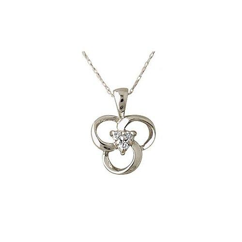 Szul Jewelry 10K White Gold Round Cut Diamond Flower Twist Pendant