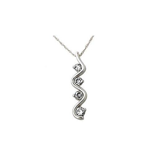 10K White Gold Round Cut Diamond Swirl Pendant