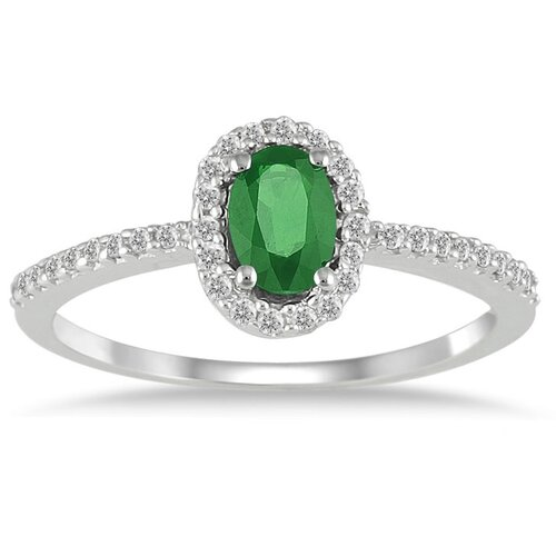 10K White Gold Oval Cut Gemstone Halo Ring