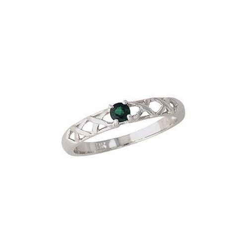 14K White Gold Round Cut Emerald Antique Ring