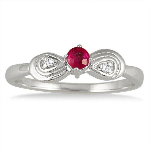 14K White Gold Round Cut Ruby Ring