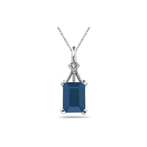 Szul Jewelry 14K White Gold Emerald Cut Gemstone Pendant