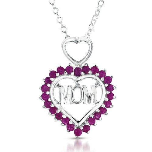 Sterling Silver Round Cut Gemstone Heart Mom Pendant