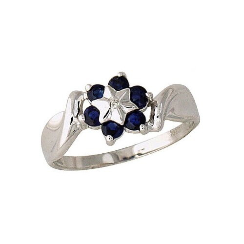 14K White Gold Round Cut Sapphire Flower Ring