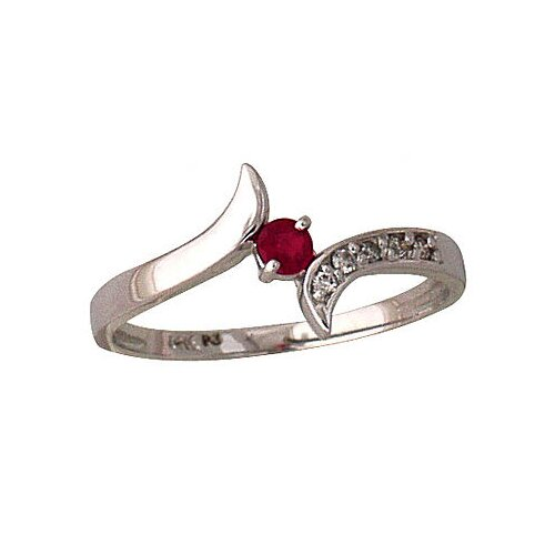 14k White Gold Round Cut Ruby Wave Ring