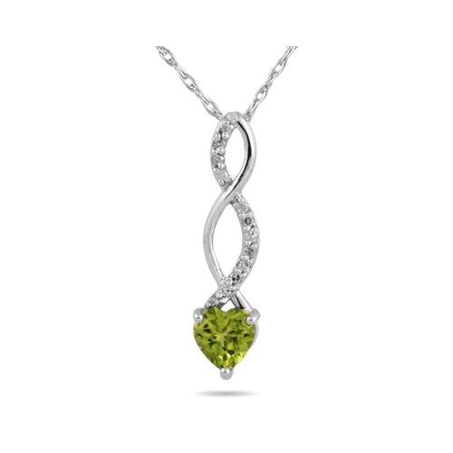 10k White Gold Heart Cut Peridot Heart Twist Pendant