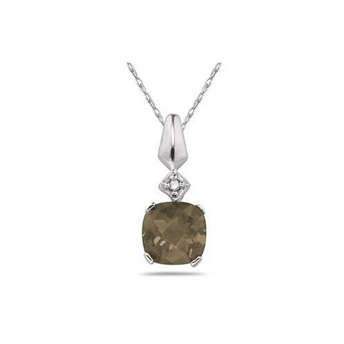 Szul Jewelry 10K White Gold Cushion Cut Gemstone Pendant