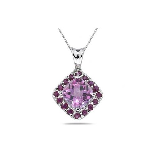 14K White Gold Cushion Cut Topaz Pendant