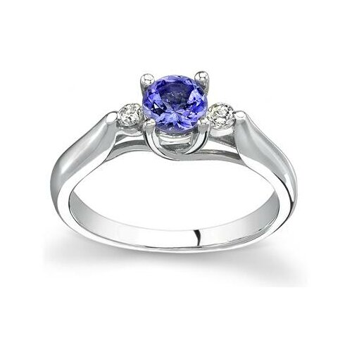 14K White Gold Round Cut Tanzanite Ring