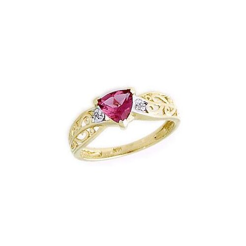 14K Yellow Gold Trillion Cut Tourmaline Engraved Ring