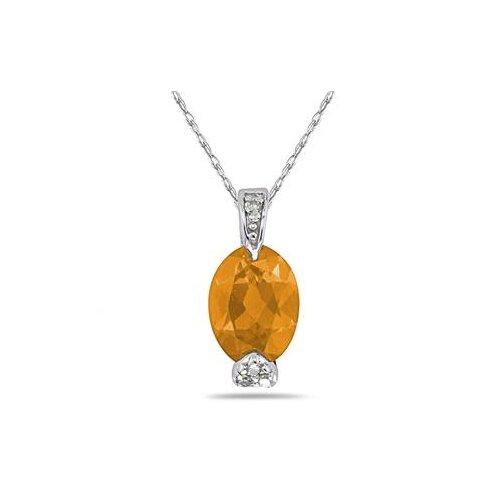 10K White Gold Oval Cut Gemstone Pendant
