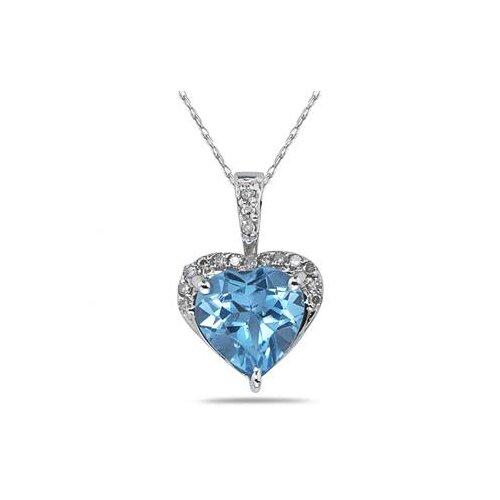 10K White Gold Heart Cut Gemstone Heart Pendant