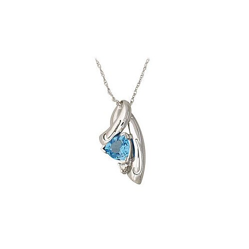14K White Gold Trillion Cut Topaz Pendant