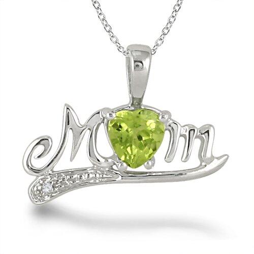 Szul Jewelry Sterling Silver Heart Cut Gemstone Mom Pendant