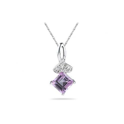 10K White Gold Princess Cut Topaz Pendant