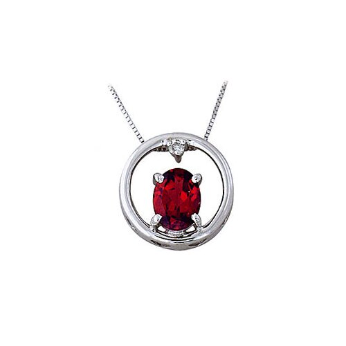 10k White Gold Oval Cut Garnet Circle Pendant