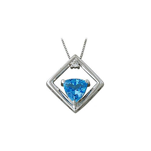 10K White Gold Trillion Cut Gemstone Cut Pendant