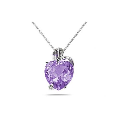 14K White Gold Heart Cut Gemstone Heart Pendant