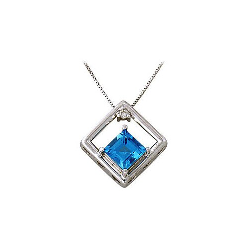 10k White Gold Square Cut Topaz Pendant