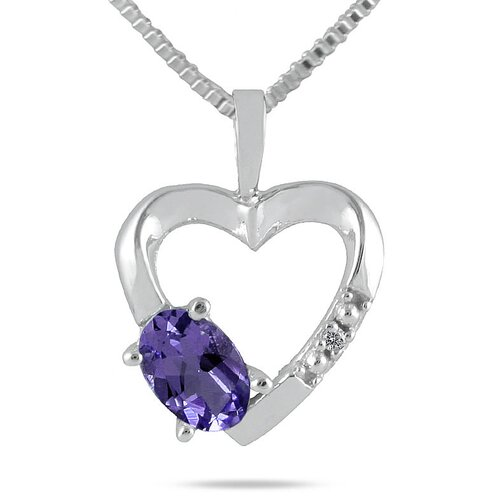 10K White Gold Oval Cut Gemstone Heart Pendant