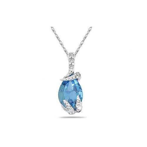 Szul Jewelry 10K White Gold Pear Cut Gemstone Pendant