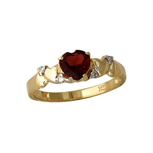 14K Yellow Gold Heart Cut Garnet Ring