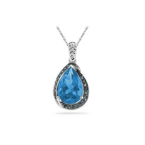 10K White Gold Pear Cut Topaz Pendant