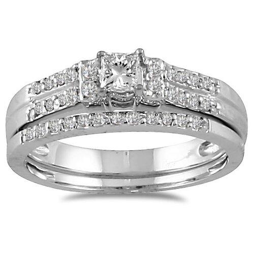 10K White Gold Princess Cut Diamond Bridal Ring Set