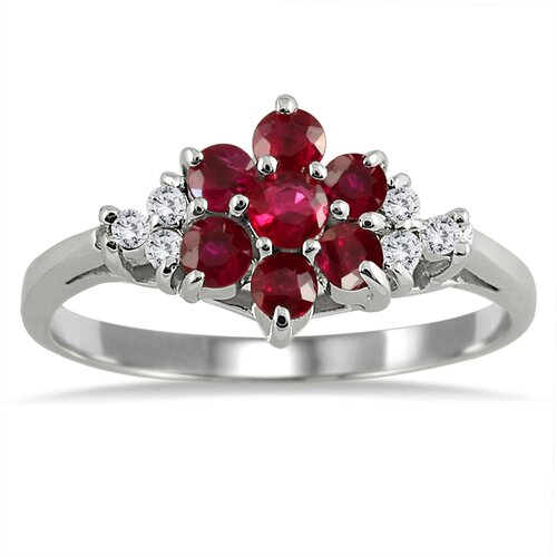 Round Cut Ruby Flower Ring