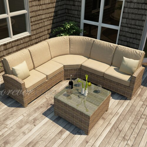Cypress 4 Piece Sectional Deep Seating Group with Cushion