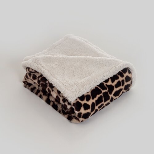 Lavish Home Giraffe Polyester Fleece Throw Blanket