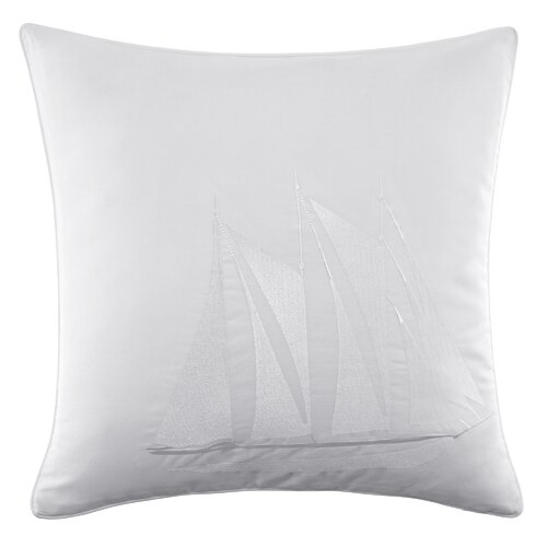 Maritime Ship Embroidered Cotton Decorative Pillow