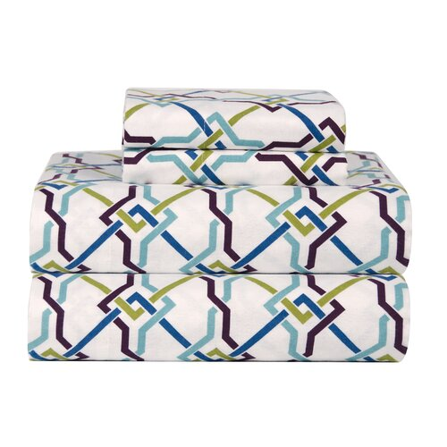 Celeste Home Ultra Soft Flannel Lattice Cotton Sheet Set