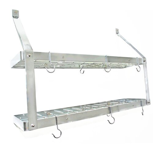 Rogar Gourmet Custom Double Bookshelf Wall Mounted Pot Rack