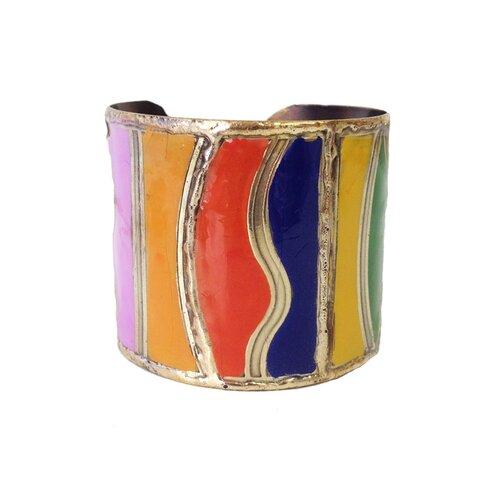 Color Block Enamel Cuff Bracelet
