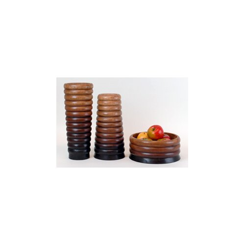 3 Piece Ripple Vase and Bowl Set