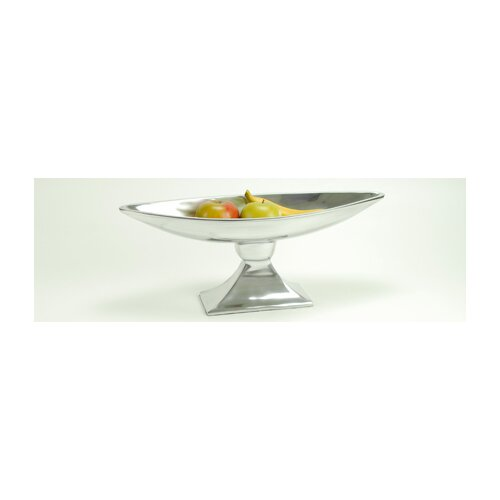 Modern Day Accents Aluminum Long Boat Pedestal Bowl
