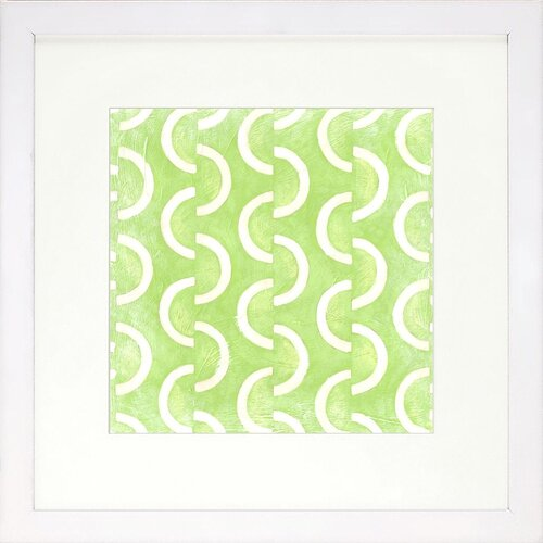 Modern Living Modern Symmetry II Framed Graphic Art in Lime and White